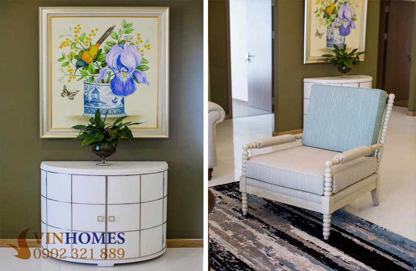 Cho thuê Penthouse 4 phòng ngủ tại tòa nhà Park 2 Vinhomes Bình Thạnh - ghế và chậu hoa trang trí
