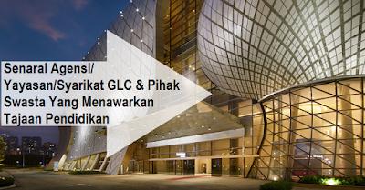 Senarai Agensi/ Yayasan/Syarikat GLC & Pihak Swasta Yang Menawarkan Tajaan Pendidikan
