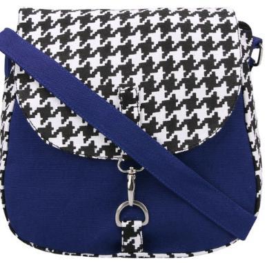 Houndstoth Blue Canvas Sling Bag For Women