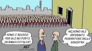 Banca d'Italia, concorsi, lavoro, sinistra, leader della sinistra, vignetta, satira