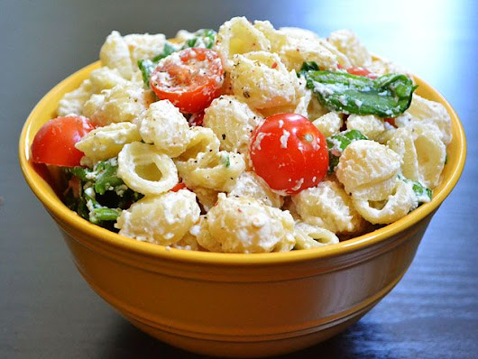 Cheesy Garlicky Pasta Salad