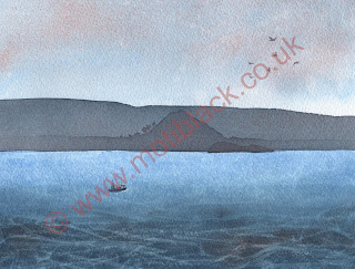 A watercolour painting of Berwick Law and Craig Leith