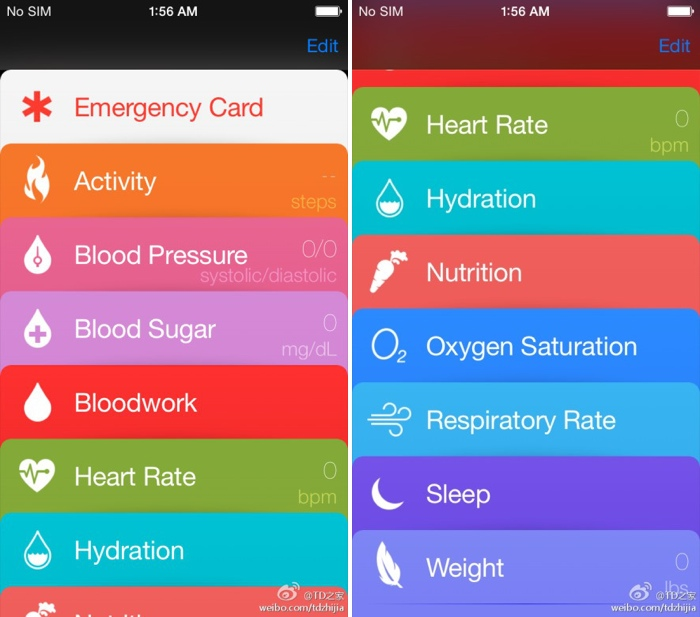 Leaked Healthbook app screen shot