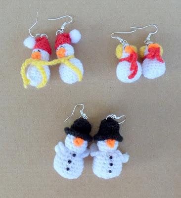 Crochet amigurumi snowman earrings
