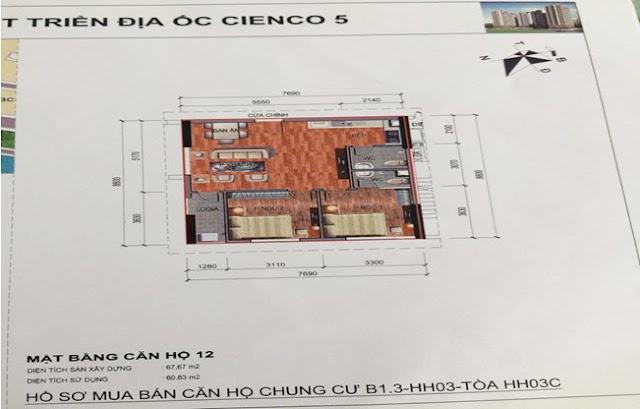 Sơ đồ thiết kế căn hộ 12 chung cư B1.3 HH03C Thanh Hà Cienco 5