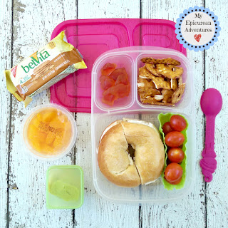 Lunch box fun with a bagel and cream cheese. So easy to make when you just don't have much time. In our @easylunchboxes #lunchboxideas