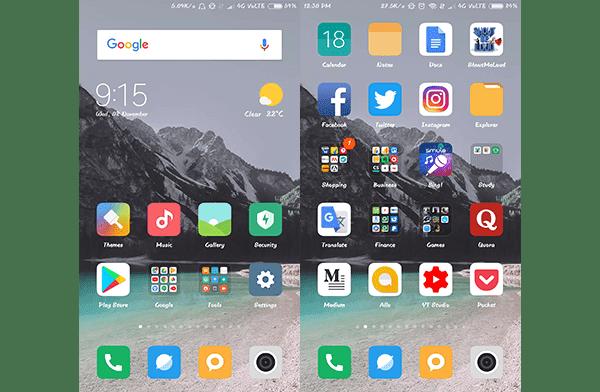 MIUI 9 Home Screen with Default Theme Screenshot