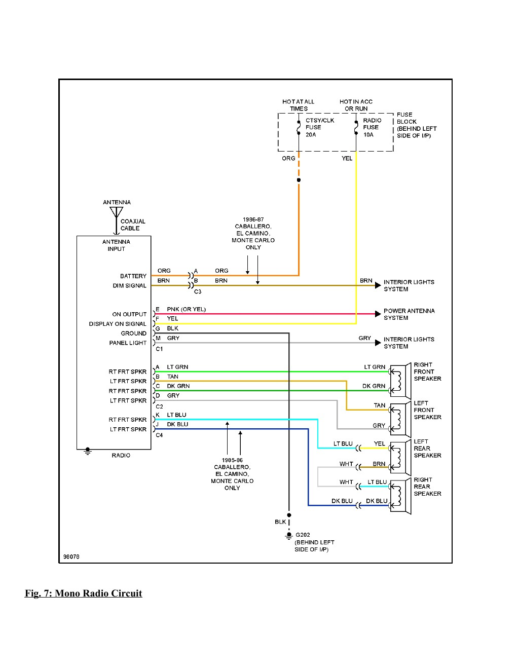 1995 Chevrolet Monte Carlo SS Complete Wiring Diagram Part ...