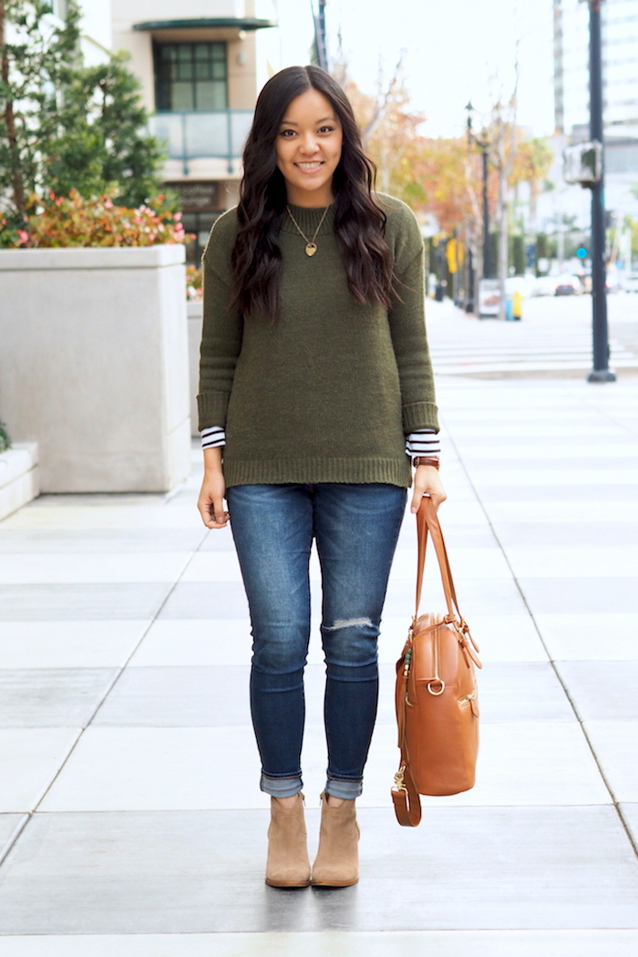 olive sweater + striped tee + distressed jeans + ankle boots
