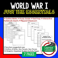 World War I, American History Outline Notes, American History Test Prep, American History Test Review, American History Study Guide, American History Summer School, American History Unit Reviews, American History Interactive Notebook Inserts