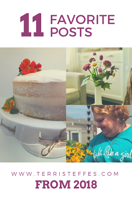 Cake, flowers and a woman in a blue tee