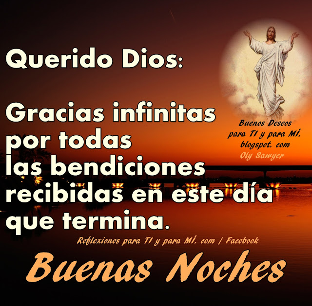 Querido Dios: Gracias infinitas  por todas las bendiciones recibidas en este día que termina.  BUENAS NOCHES!