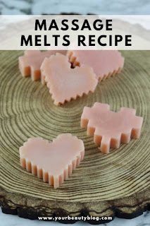 How to make a Valentine's Day massage melt.  This massage melt recipe is like a solid lotion recipe, but it's softer so it melts when it touches skin.  It has mango butter to moisturize and soften the skin.  It also has apricot oil and fractionated coconut oil because they soak into the skin easily.  This makes a great diy Valentine's Day gift for a couples massage.  #massagemelt #massage #mangobutter #apricotoil #coconutoil #valentine #valentinesday #diy