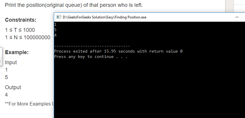 """Geeksforgeeks Solution For """" Finding Position """""""