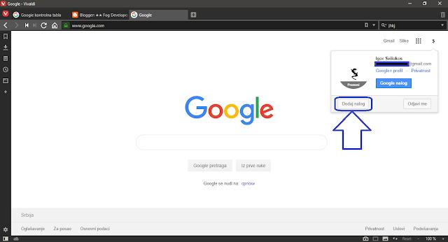 Dodaj nalog na google