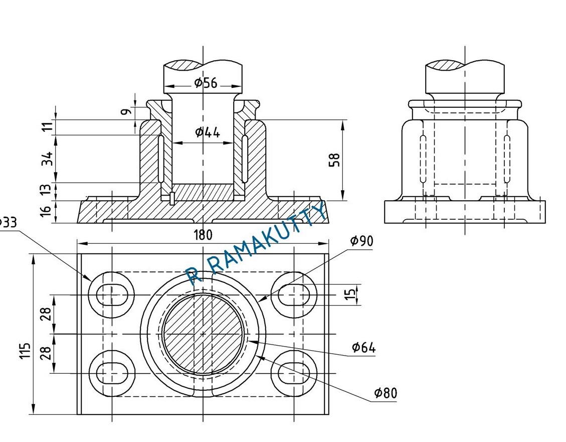 machine drawing  foot step bearing assembly