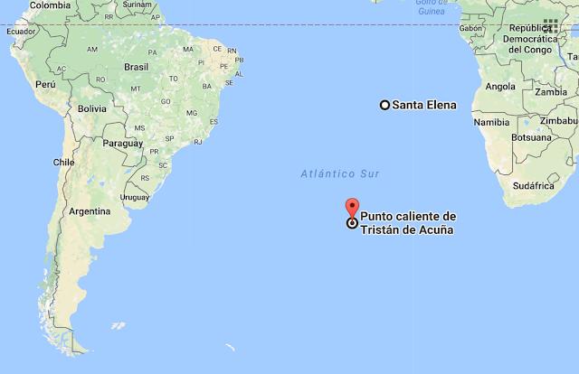 Situación de la Isla tristán da Cunha