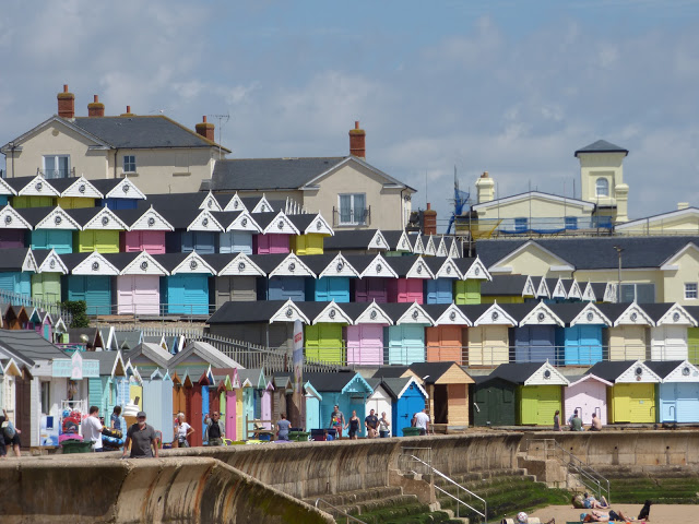 Beach huts on the seafront at Walton on the Naze