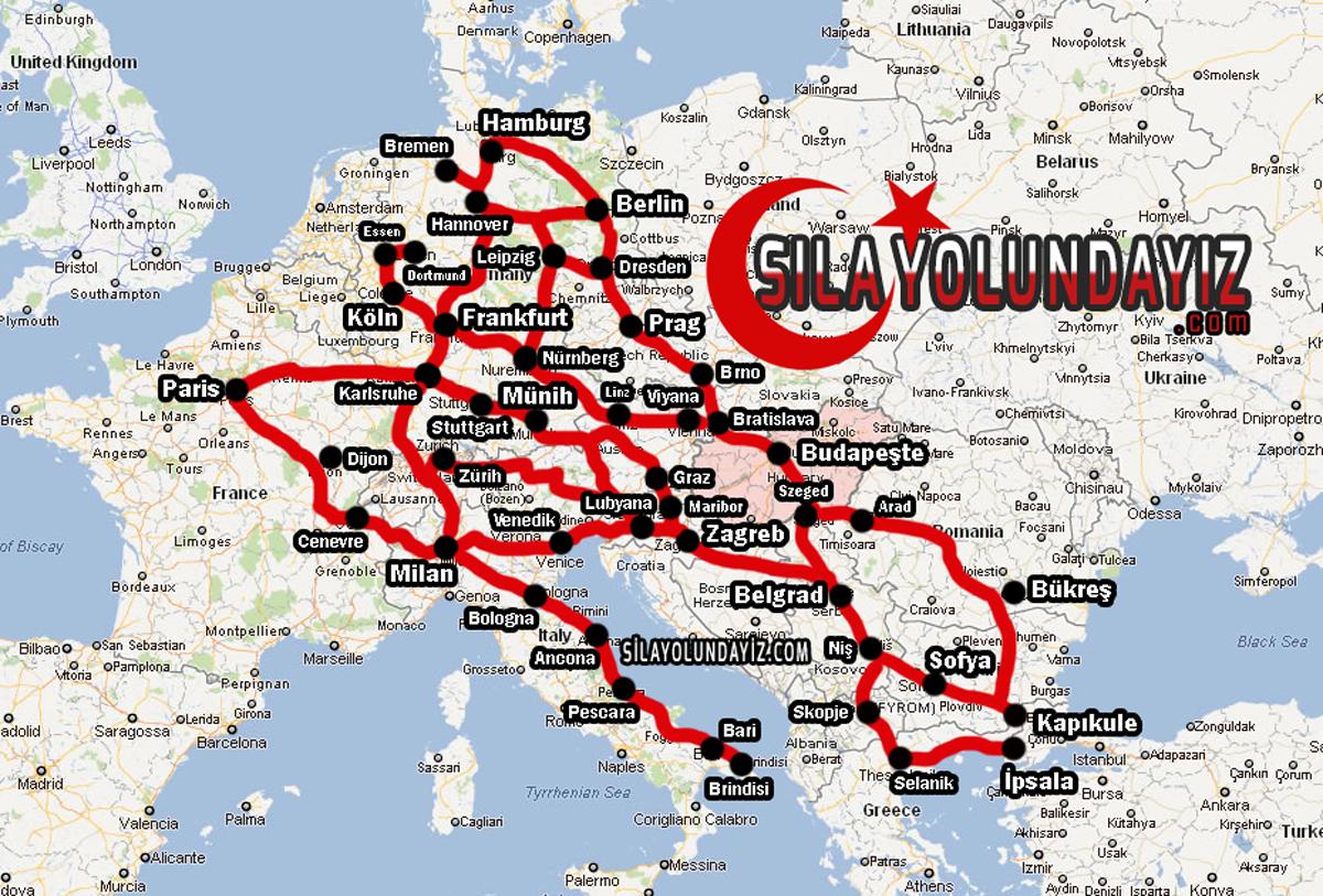 2018 Fransa'dan Türkiye'ye Sıla Yolu Haritası