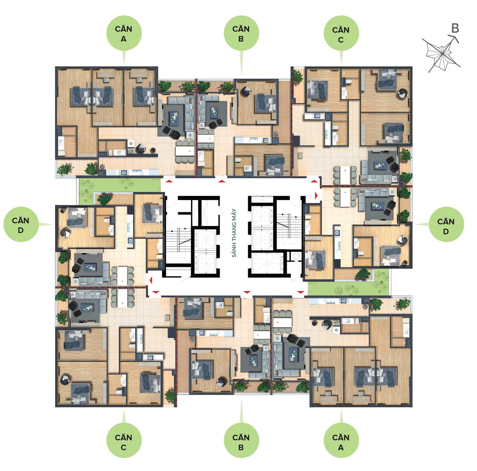 Mặt bằng căn hộ chung cư Bohemia Residence