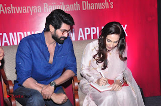 Aiswarya Rajinikanth Dhanush Standing on an Apple Box Launch Stills in Hyderabad  0079.jpg