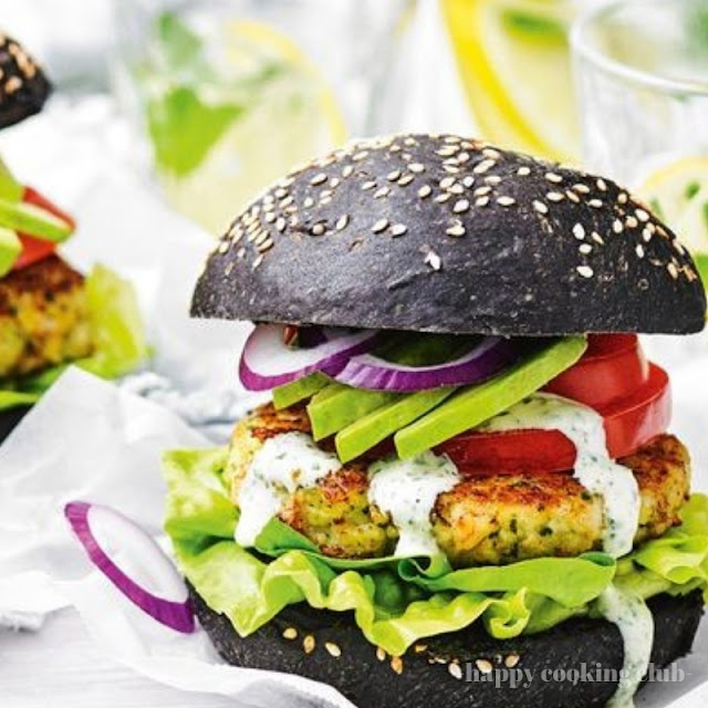 Prawn burgers with tomato, avocado and basil mayonnaise