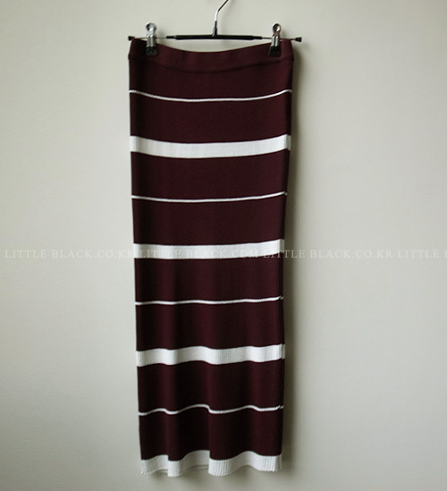 Striped Ribbed Knit Skirt