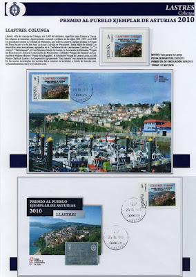 Lastres, Pueblo Ejemplar de Asturias 2010, sello, sobre, tarjeta