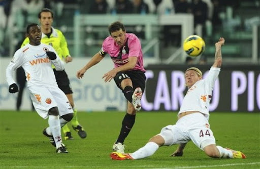 Juventus forward Alessandro Del Piero scores a goal during a Coppa Italia game against AS Roma