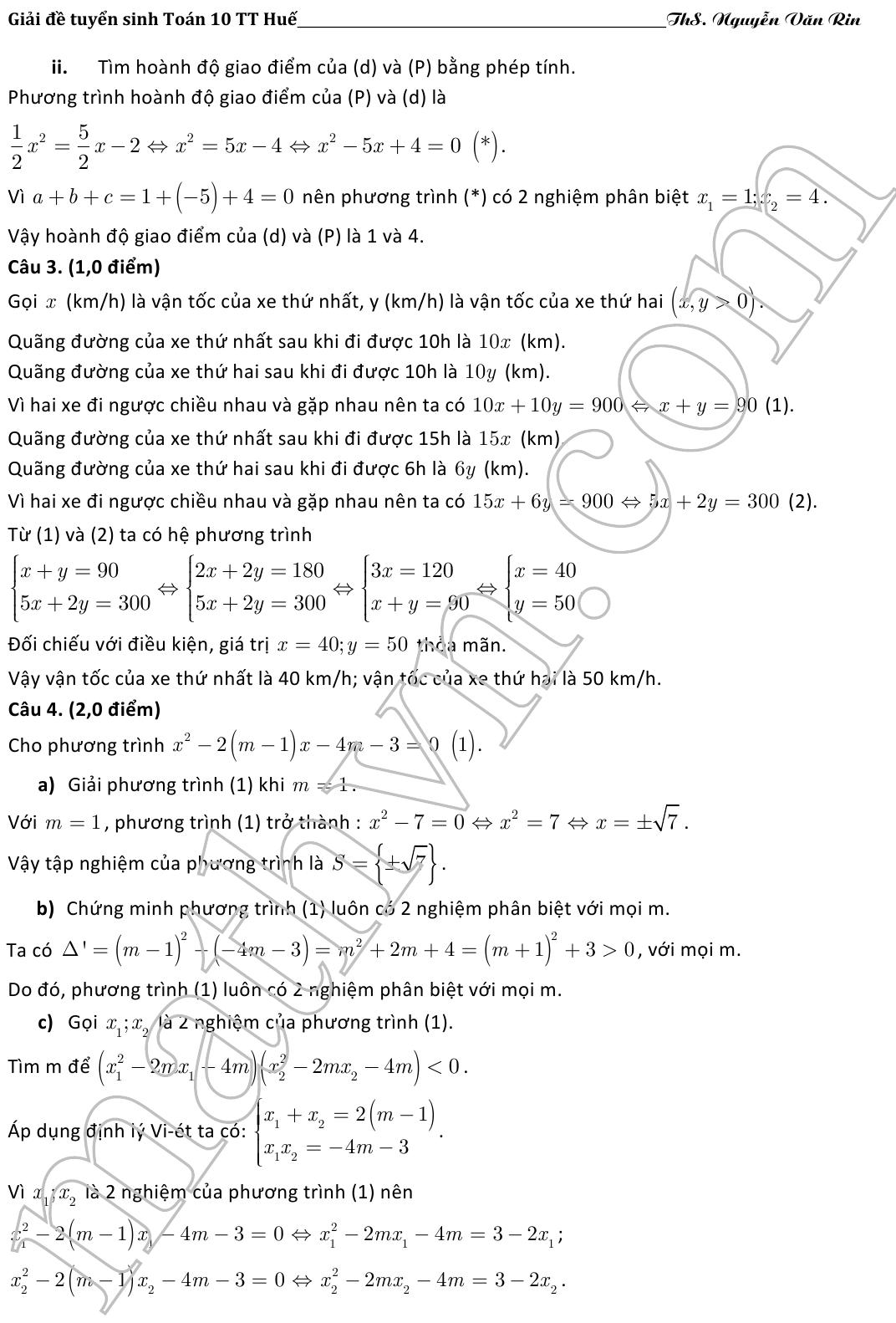 đáp án đề thi môn toán vào lớp 10 thừa thiên huế 2016-2017
