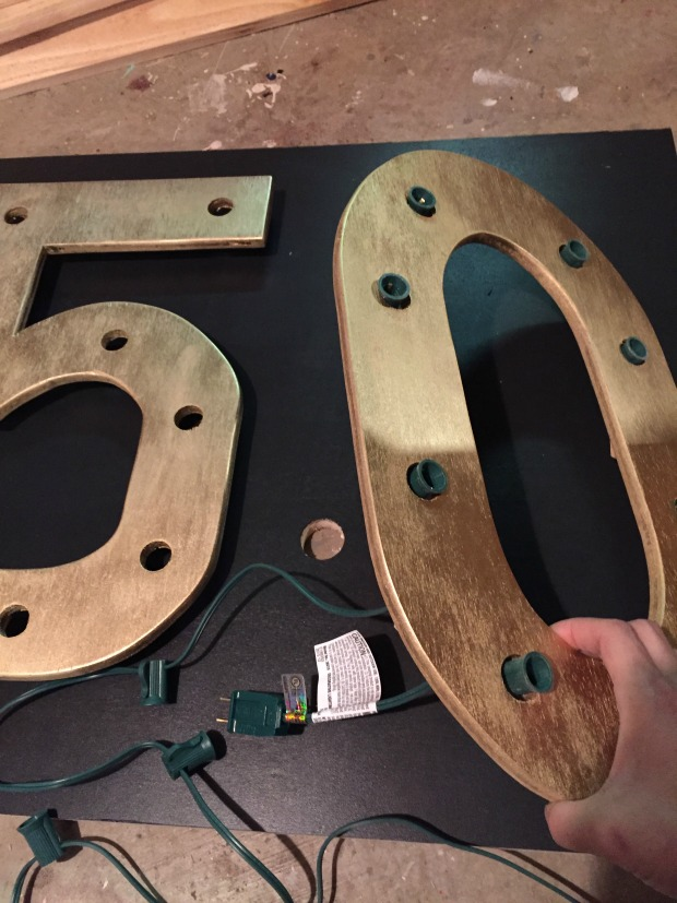 diy marquee number sign