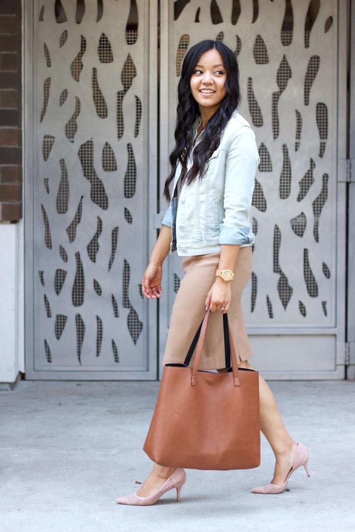 Blush Pumps + Pencil Skirt + Jean Jacket