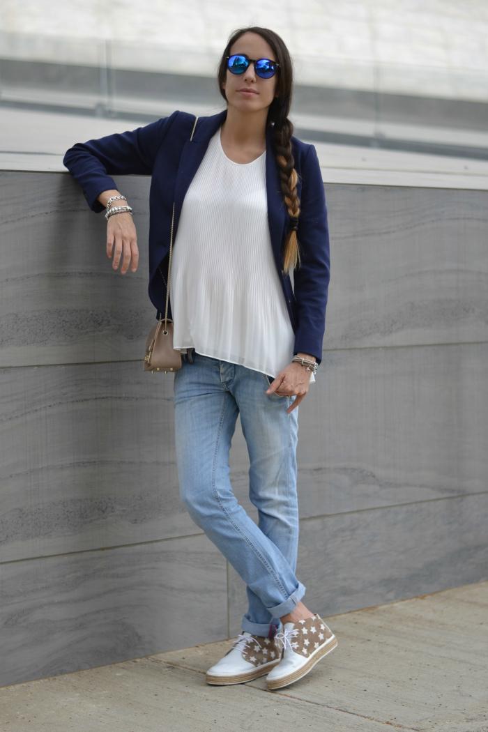 look bianco blu casual