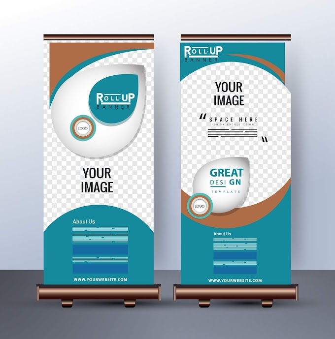 retractable banner printing Corporate banner template standee shape shiny modern decor Free vector