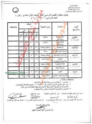 جدول امتحانات نصف العام بمحافظة الغربيه 2017 للصف الثالث الاعدادى