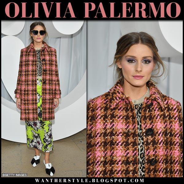 Olivia Palermo in pink checked coat and green floral midi skirt miu miu fashion week style october 2