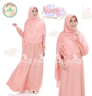Gamis Fenuza Naura Linen Flaminggo