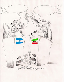 Christian Hildebrandt, Karikatur, Israel, Iran, Frieden, Krieg, Zionismus