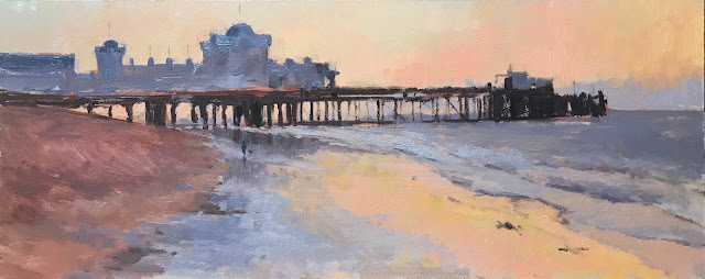 #419 'South Parade Pier, Sand Reflections' 20x50cm