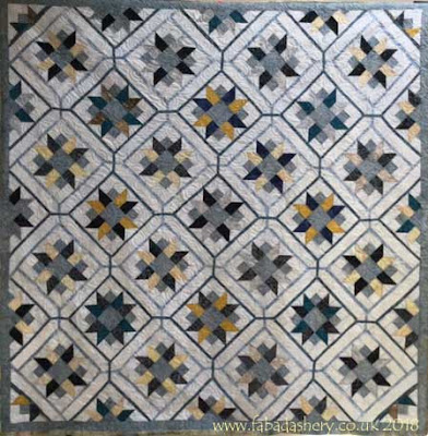 Batik quilt made by Maria, quilted by Fabadashery Longarm Quilting, UK
