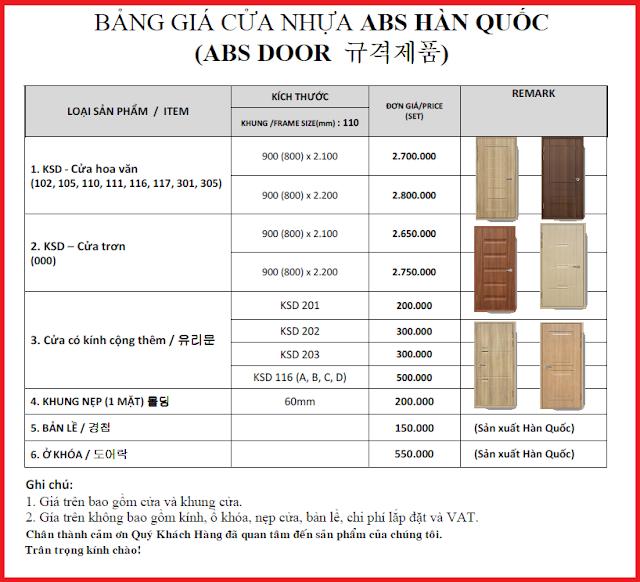 Giá cửa nhựa ABS Hàn Quốc