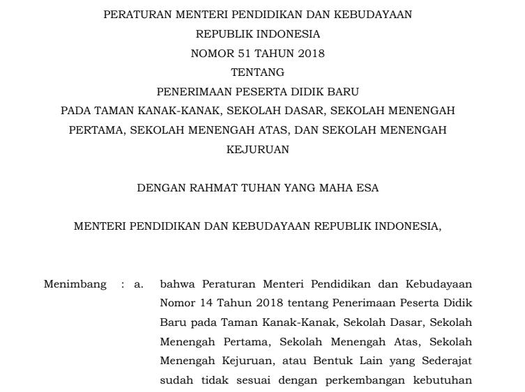 Download Permendikbud Nomor  Tentang Penerimaan Peserta Didik Baru Pada Tk Sd Smp Sma Dan Smk Tahun