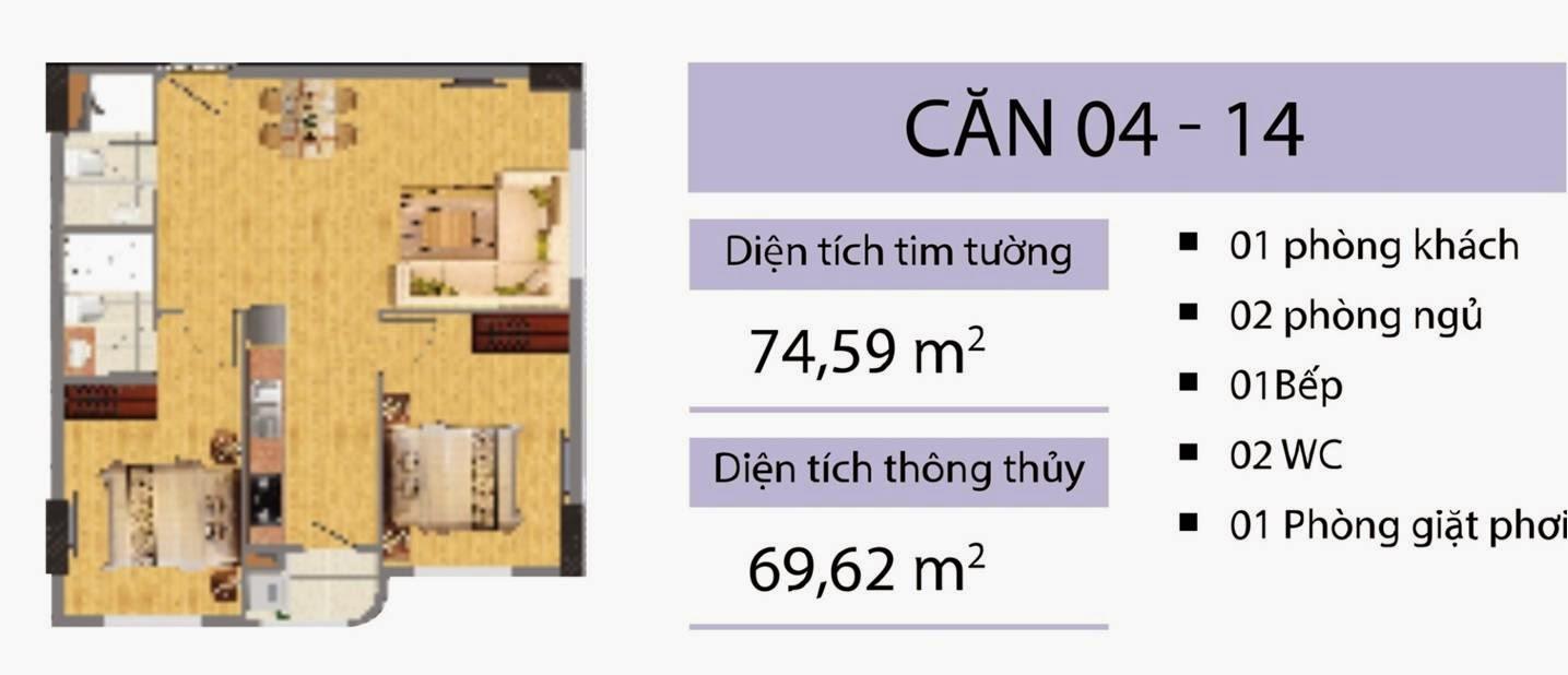 Căn 74,59 m2 CT2B Nghĩa Đô