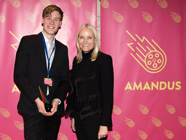 Crown Princess Mette Marit wore CHLOÉ Fringed jacquard jacket and Prada suede pumps at Amandus International Student Film Festival for Young Filmmakers