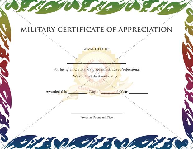 military certificate of appreciation template free - Trisamoorddiner