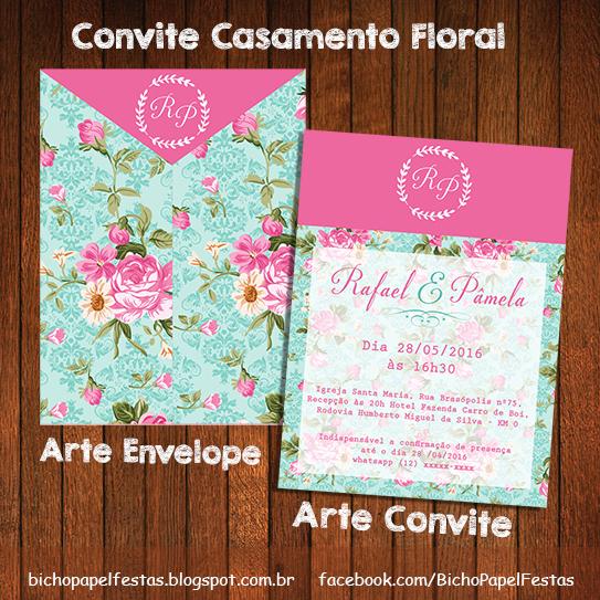 Arte Convite Casamento Floral Azul e Rosa Envelope