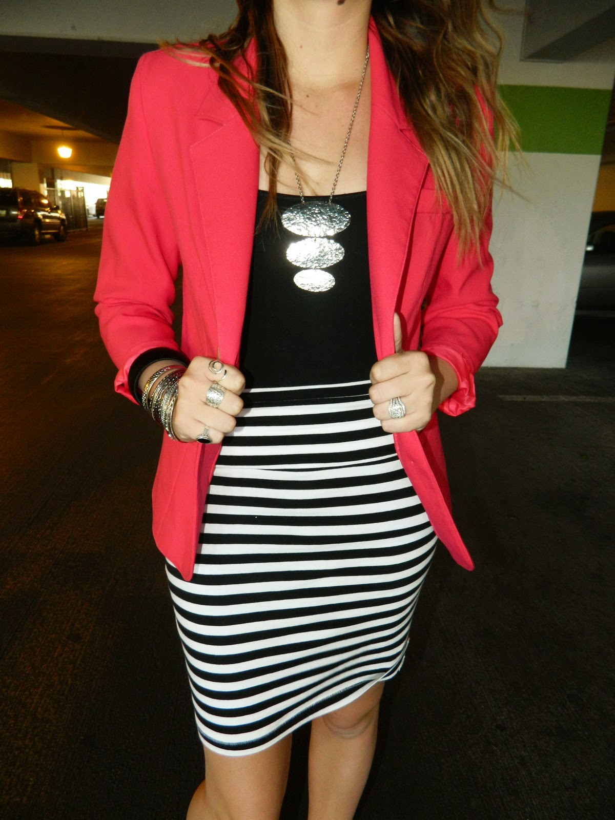striped skirt, silver necklace