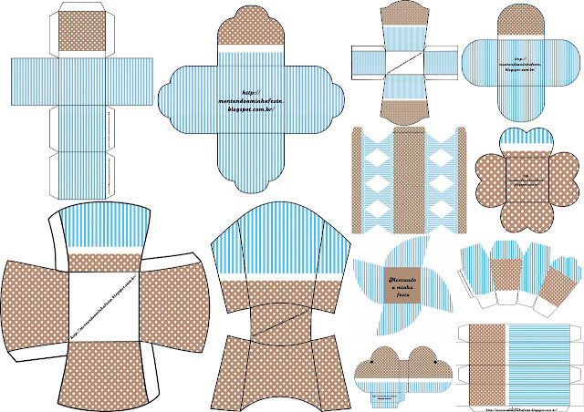 Brown and Light Blue: Free Printable Boxes.
