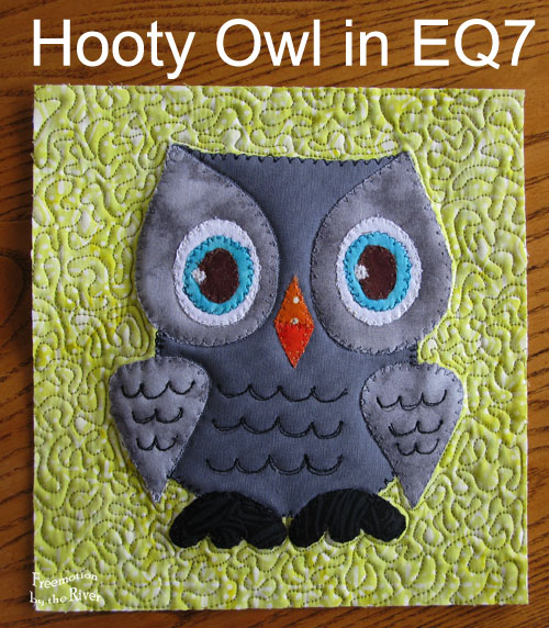 Hooty Owl Applique in EQ7 at Freemotion by the River
