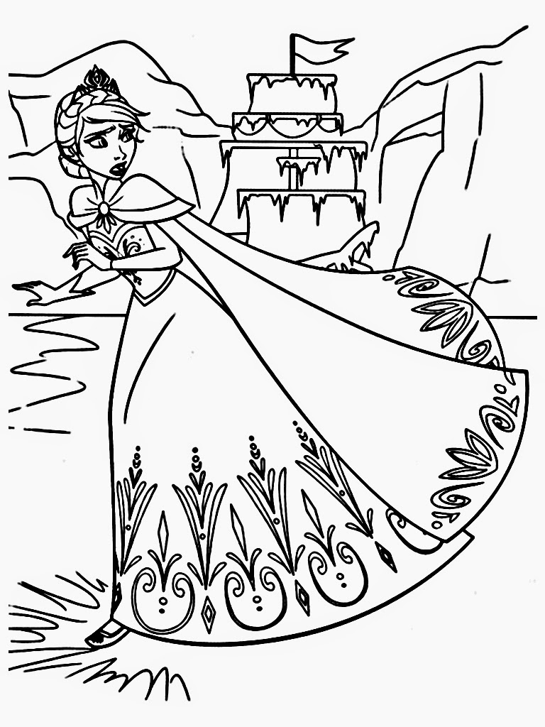 Elsas Castle Coloring Pages Sketch Coloring Page